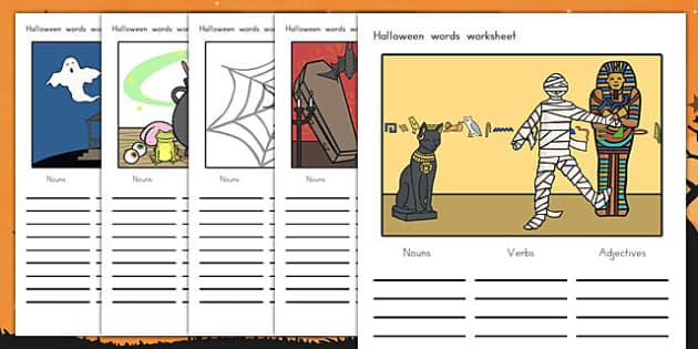 Halloween Verb Adjective Noun Picture Worksheets - halloween, halloween words, verbs, adjectives, nouns, types of words worksheet, halloween worksheet