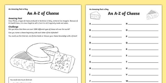 An A-Z Of Cheese Activity Sheet Activity Sheet, worksheet