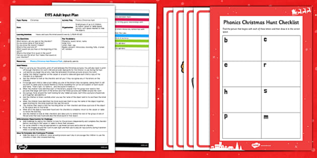 Phonics Christmas Hunt EYFS Adult Input Plan and Resource Pack - phonics, christmas, hunt, resource, pack