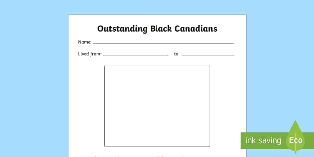 Historic Black Canadians Biography Research Writing Template - Black History Month in Canada, civil rights, research template.