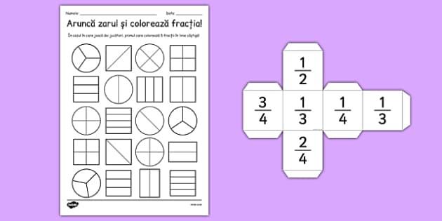 Arunca zarul si coloreaza fractia - numere rationale, fractii , worksheet