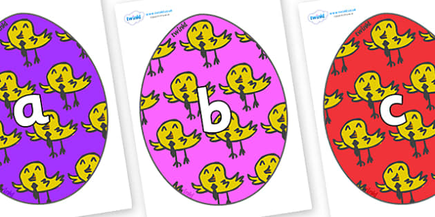 Phase 2 Phonemes on Easter Eggs (Chicks) - Phonemes, phoneme, Phase 2, Phase two, Foundation, Literacy, Letters and Sounds, DfES, display