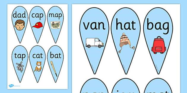 CVC Word Fans (A) - CVC, CVC word, fan, fans, three phoneme words, three sound words, consonant vowel consonant, words, three letter words, letters and sounds, DfES letters and sounds