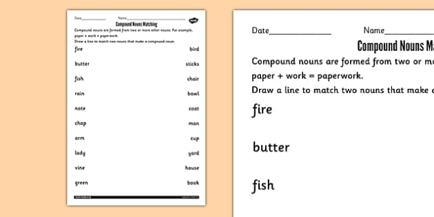 Printables Compound Nouns Worksheet compound nouns matching worksheets noun match sheet