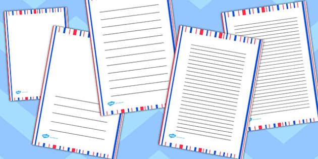 Red and Blue Stripe Portrait Page Borders - page borders, stripe