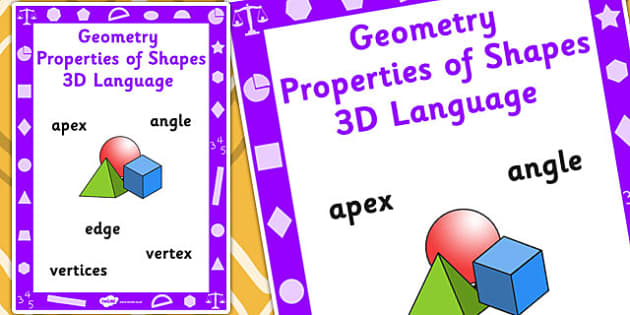 Key Stage 1 Geometry Properties of Shapes 3D Language Poster - Shapes