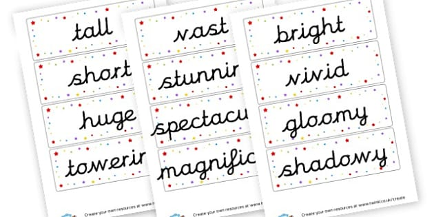 Adjectives Cards - Adjectives Primary Resources, cll, wow, keywords, describing words