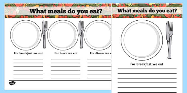 Meal Time Writing Templates - meal time, writing frame, template, Lunchtime, dinner, breakfast, tea