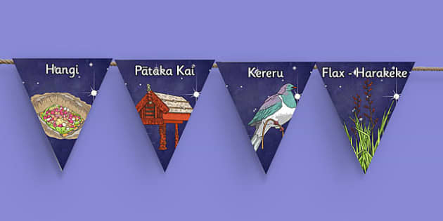 Matariki Vocabulary Bunting - nz, new zealand, matariki, vocabulary, bunting, display bunting, display