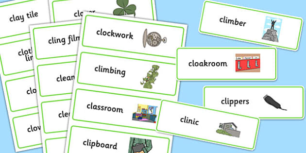Two Syllable CL Word Cards - two syllable, cl, word cards, word, cards, speech, language