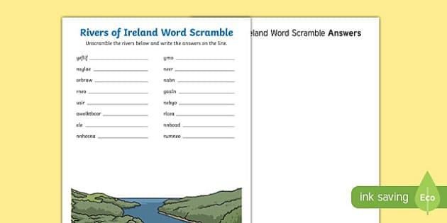 Rivers of Ireland Word Scramble Activity Sheet-Irish, worksheet