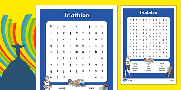 Rio 2016 Olympics Triathlon Word Search - rio 2016, rio olympics, 2016 olympics, triathlon, word search