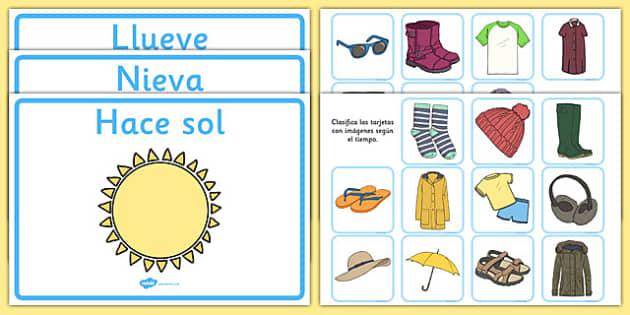Juego de clasificar ropa según el tiempo - juego, clasificar, ropa, tiempo, vocabulario, emparejar
