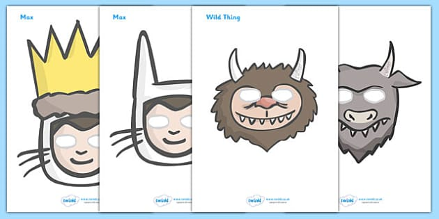 Story Role Play Masks to Support Teaching on Where the Wild Things Are - Where the Wild Things Are, Maurice Sendak, Wild Things, resources, Max, wild rumpus, boat, wolf suit, dream, fantasy, story, story book, story book resources, story sequencing,
