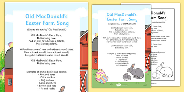 Old MacDonald's Easter Farm Song - new life, baby animals, young animals