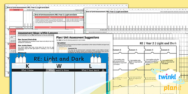 PlanIt - RE Year 2 - Light and Dark Unit Assessment Pack