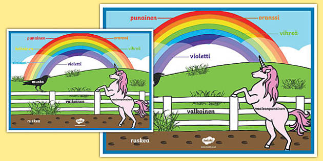 Rainbow Colours Finnish A2 Display Poster