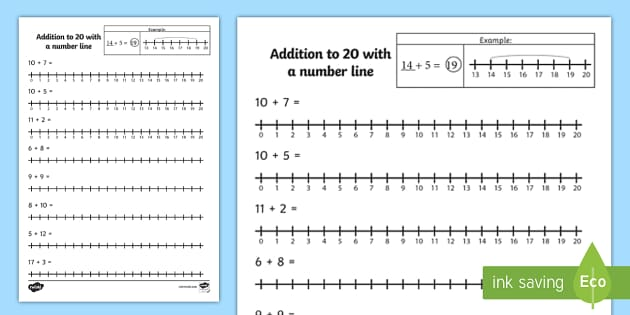 Addition to 20 with a Number Line Activity Sheet number line – Addition Worksheets with Number Line