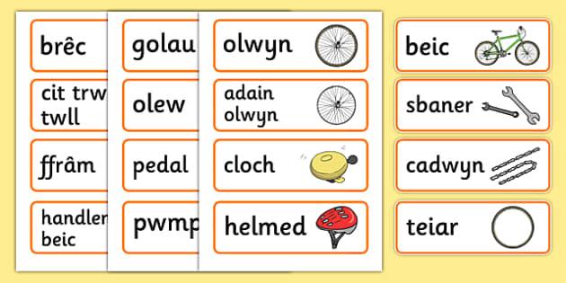 Cardiau Fflach Siop Feiciau - Welsh, Wales, bicycle, foundation, word cards, flashcards, cards, bike, shop, repair, poster, languages, cymru