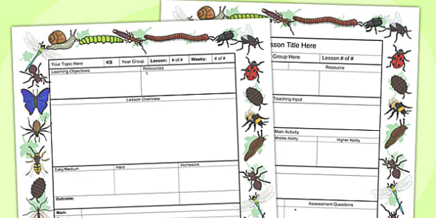 Minibeasts Themed Editable Individual Lesson Plan Template