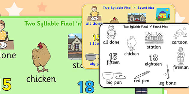Two Syllable Final 'N' Sound Word Mat - final n, sound, mat