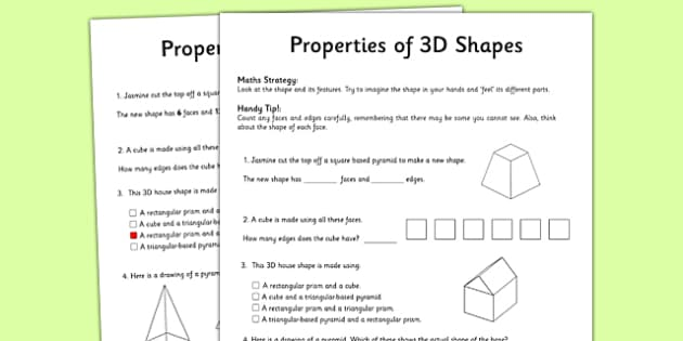 Year 3 Properties of Shapes Activity Sheet - worksheet, test skills, NAPLAN, equations, number sentences, problem solving, reasoning