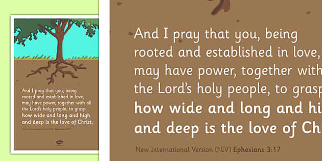 Rooted and Established in Love' Bible Scripture Motivational Poster