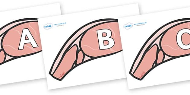 A-Z Alphabet on Bacon - A-Z, A4, display, Alphabet frieze, Display letters, Letter posters, A-Z letters, Alphabet flashcards