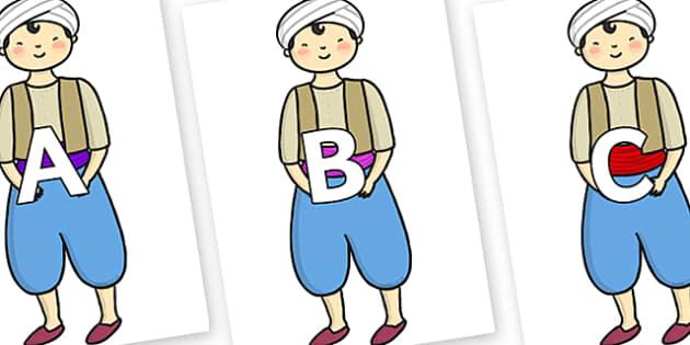 A-Z Alphabet on Aladdin - A-Z, A4, display, Alphabet frieze, Display letters, Letter posters, A-Z letters, Alphabet flashcards