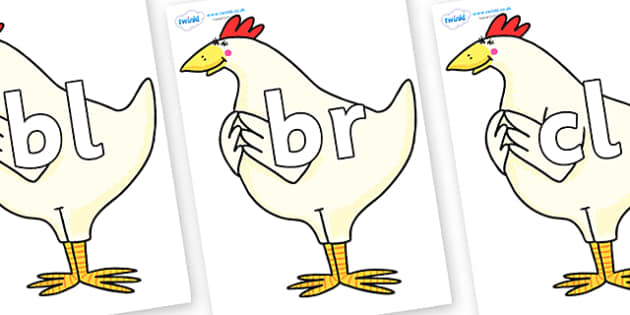 Initial Letter Blends on Hullabaloo Chicken to Support Teaching on Farmyard Hullabaloo - Initial Letters, initial letter, letter blend, letter blends, consonant, consonants, digraph, trigraph, literacy, alphabet, letters, foundation stage literacy