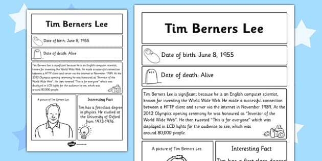 Tim Berners Lee Significant Individual Fact Sheet - fact sheet