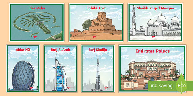 UAE Iconic Buildings Illustrations Photo Pack - UAE Non-native Social Studies