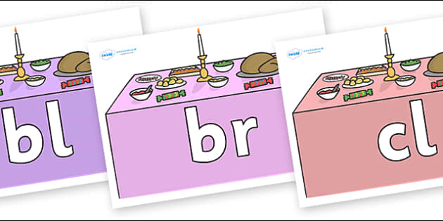 Initial Letter Blends on Christmas Dinner (Tables) - Initial Letters, initial letter, letter blend, letter blends, consonant, consonants, digraph, trigraph, literacy, alphabet, letters, foundation stage literacy
