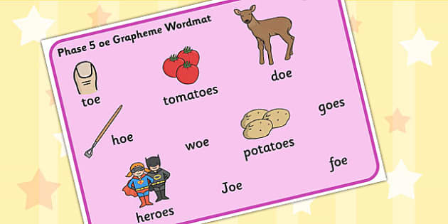 Phase 5 oe Grapheme Word Mat - phase five, graphemes, literacy