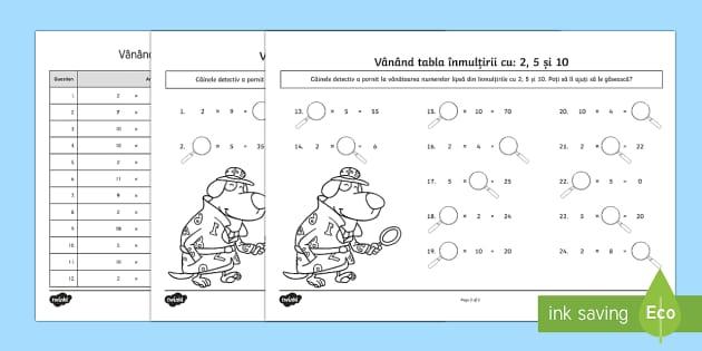 Vânând tabla înmulțirii cu 2, 5 și 10  - tabla înmulțirii, matematică, fișe, română, înmulțiri, proba înmulțirii, materiale, 2x, 5x