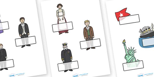 Editable Self Registration Labels (Titanic) - Self registration, register, editable, labels, registration, child name label, printable labels