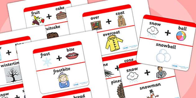 Winter Compound Word Matching Activity - winter, word matching, matching, compound, winter games, winter activities, seasons, compound words, games