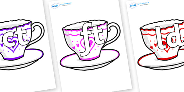 Final Letter Blends on Cups and Saucers - Final Letters, final letter, letter blend, letter blends, consonant, consonants, digraph, trigraph, literacy, alphabet, letters, foundation stage literacy