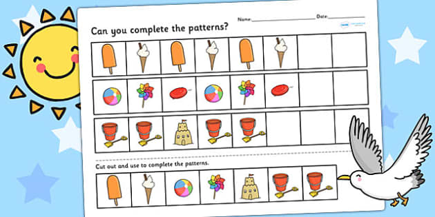 Seaside Themed Complete the Pattern Worksheet - seaside, the seaside, beach, seaside patterns, seaside complete the pattern, seaside numeracy, patterns