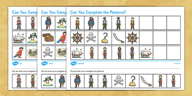 Pirates Complete the Pattern Differentiated Activity Sheet - pirate, patterns, games, worksheet