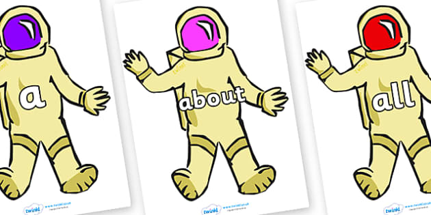 100 High Frequency Words on Astronauts - High frequency words, hfw, DfES Letters and Sounds, Letters and Sounds, display words
