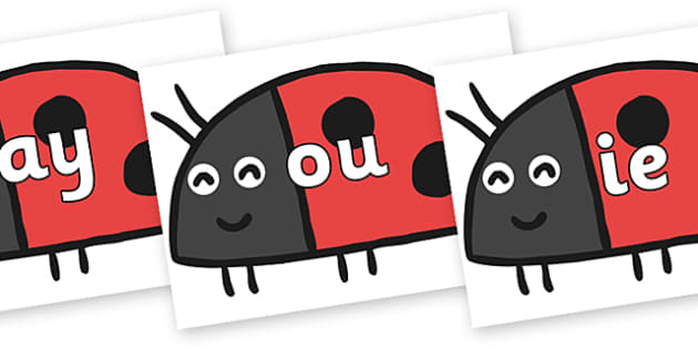 Phase 5 Phonemes on Ladybird to Support Teaching on What the Ladybird Heard - Phonemes, phoneme, Phase 5, Phase five, Foundation, Literacy, Letters and Sounds, DfES, display