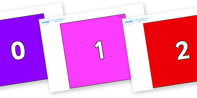 Numbers 0-50 on Squares - 0-50, foundation stage numeracy, Number recognition, Number flashcards, counting, number frieze, Display numbers, number posters