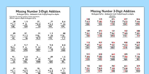 Missing Number Three Digit Addition Polish Translation - polish, missing number, three-digit, addition
