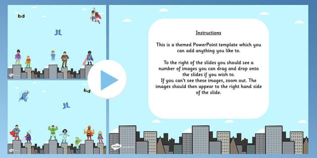 Superhero Themed Editable PowerPoint Background Template - superhero, editable powerpoint, powerpoint, background template, themed powerpoint, editable