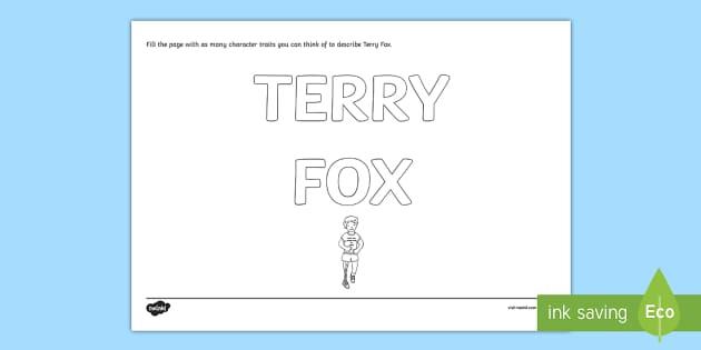 Terry Fox Character Traits Graffiti Activity - Terry Fox, hero, canada, canadian, run, walk, marathon, marathon of hope