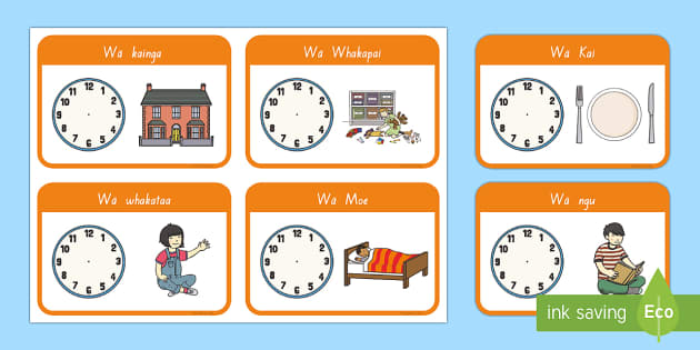 Hei aha te wā? Flashcards - daily routine, times, clocks, karaka, matawa, clock, hour, time, wā