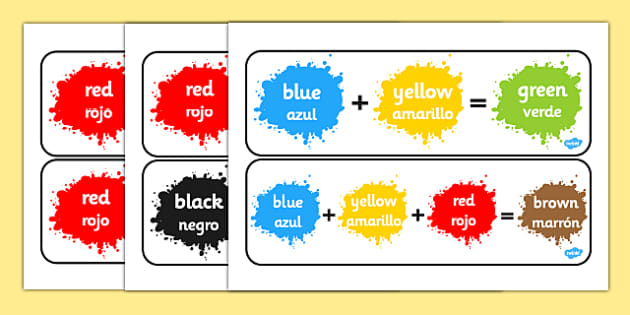 Colour Mixing Pack Spanish Translation - spanish, Colour posters, Colouring mixing, mix, colour, display, poster, posters, black, white, red, green, blue, yellow, orange, purple, pink, brown