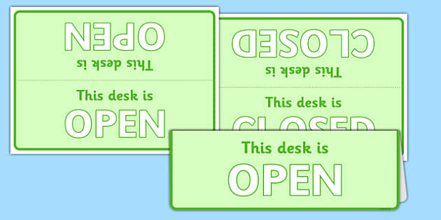 Post Office Open and Closed Desk Signs - role play, display, label