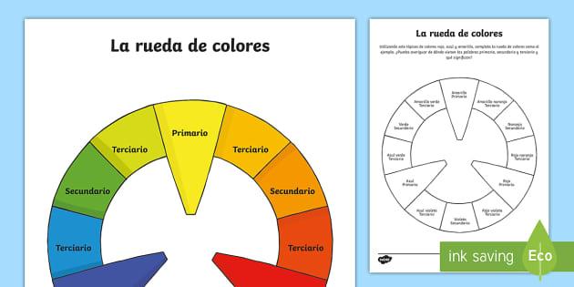 Ficha de actividad: La rueda de colores - color, rueda, teoría, círculo cromático, colores primarios, colores secundarios, colores terciari